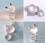 SILVER AND ROSE QUARTZ CRYSTAL PINK CAT NECKLACE