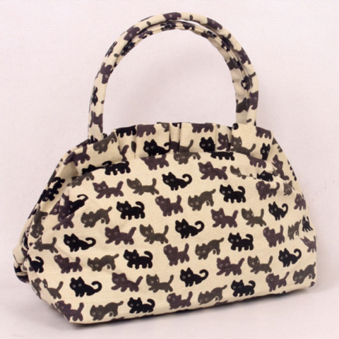 CUTE FELINE PRINT TOTE BAG