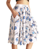 Sexy Girl Women Summer princess belle Beauty and the Beast 3D Prints Skater Pleated Skirt Knee Skirts With Pocket