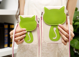 CUTE CAT PHONE HANDBAG WITH TRANSPARENT BACK SIDE FOR TOUCH SCREEN