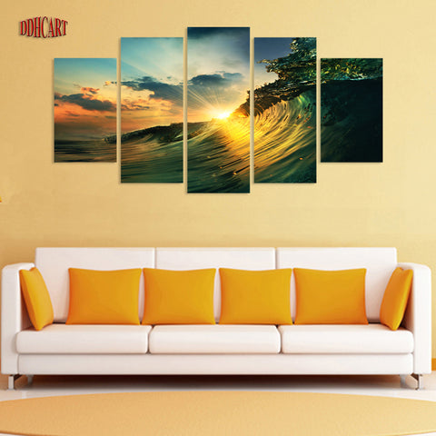 5 PIECES SUNSET ON THE BEACH SPRAY PAINTING