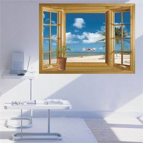 3D BEACH WALL STICKERS