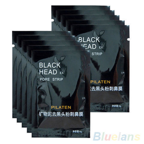 10pcs Pilaten Black Mud Mask Tearing Syle Deep Cleanse Acne Blackhead Remover