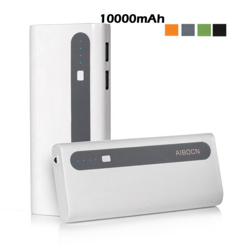 Aibocn 10000mAh Dual USB External Battery Charger Power Bank with Flashlight