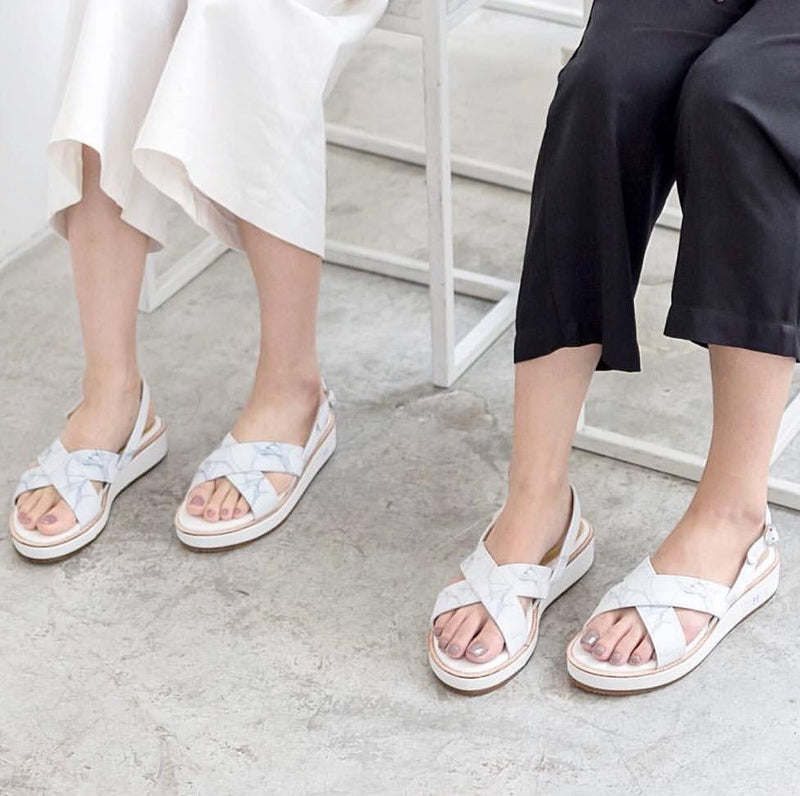 NATURAL MARBLE CROSS PLATFORM SANDALS - Blue Edges Co. | Shop the Minimalist Fashion Online