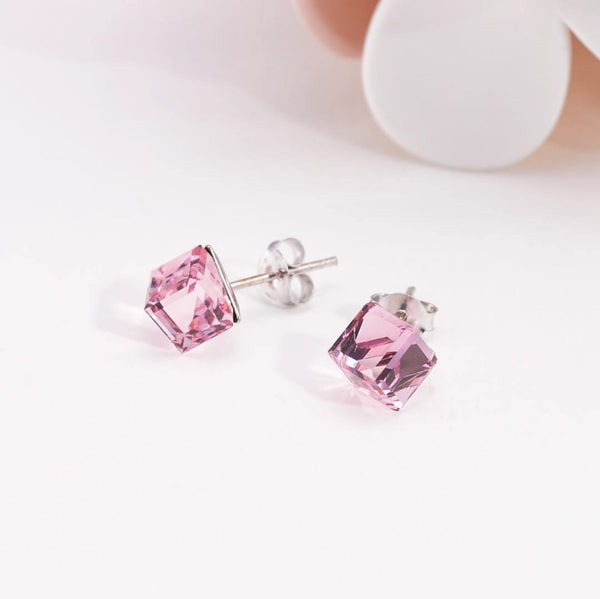 PASTEL PINK SWAROVSKI STERLING SILVER EARRING - Accessories - Blue Edges Co. | Nordic Contemporary Marble Fashion | Minimal Uniqueness