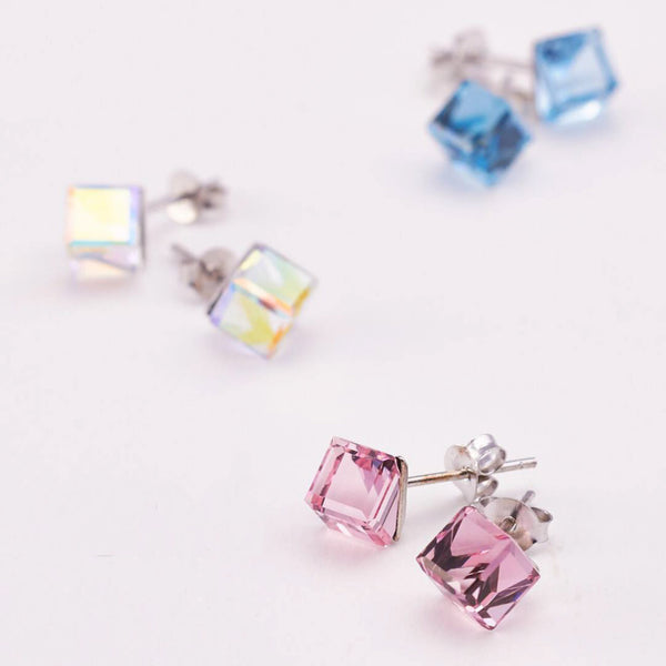 PASTEL PINK SWAROVSKI STERLING SILVER EARRING - Blue Edges Co. | Shop the Minimalist Fashion Online