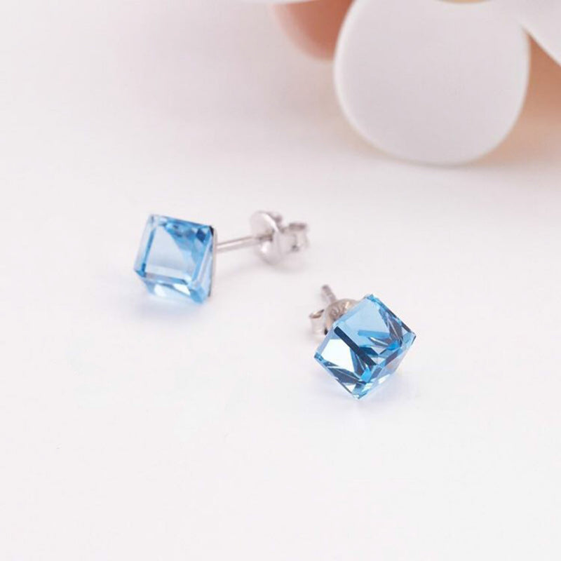 Ocean Blue Swarovski Sterling Silver Earring - Accessories - Blue Edges Co. | Nordic Contemporary Marble Fashion 北歐風後現代主義概念店| Minimal Uniqueness | Reinvent your Collection