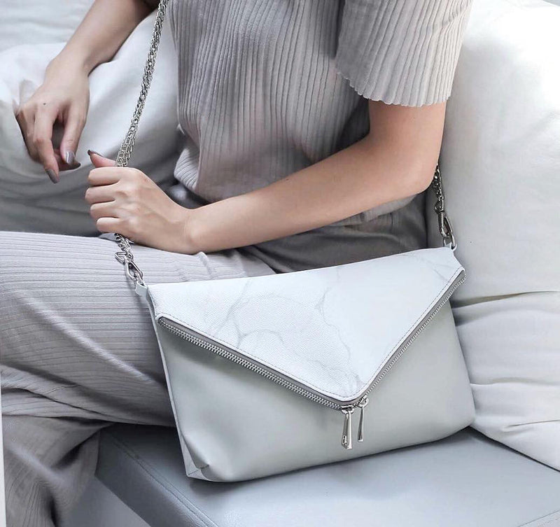 NATURAL MARBLE CLUTCH-STYLE BAG - WHITE-GREY - Blue Edges Co. | Shop the Minimalist Fashion Online