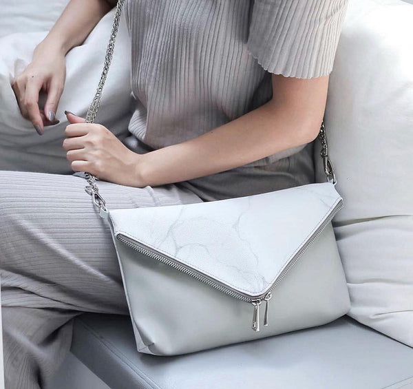 NATURAL MARBLE CLUTCH-STYLE BAG - WHITE-BROWN - Blue Edges Co. | Shop the Minimalist Fashion Online