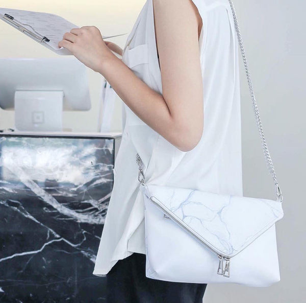 Natural Marble Clutch Style Bag - White-Grey - Bags - Blue Edges Co. | Nordic Contemporary Marble Fashion 北歐風後現代主義概念店| Minimal Uniqueness | Reinvent your Collection