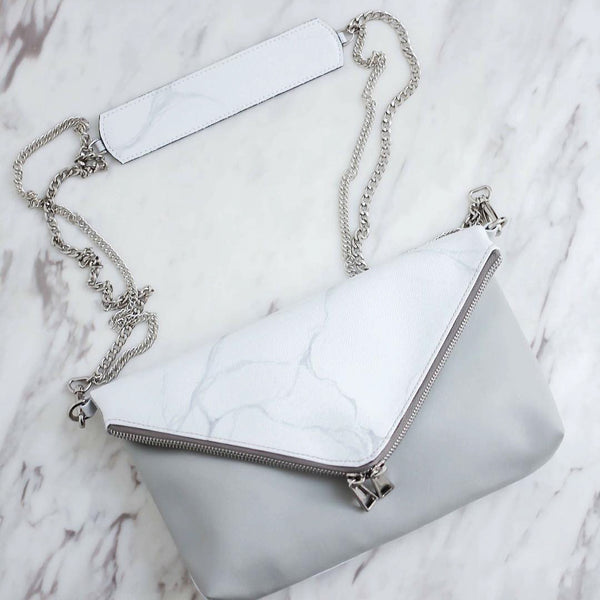 Natural Marble Clutch Style Bag - White-Brown - Bags - Blue Edges Co. | Nordic Contemporary Marble Fashion 北歐風後現代主義概念店| Minimal Uniqueness | Reinvent your Collection
