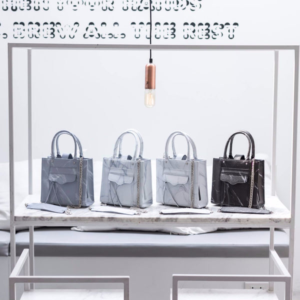 NATURAL MARBLE LUGGAGE - WHITE-GREY - Bags - Blue Edges Co. | Nordic Contemporary Marble Fashion | Minimal Uniqueness