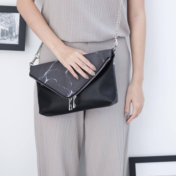 NATURAL MARBLE CLUTCH-STYLE BAG - BLACK - Blue Edges Co. | Shop the Minimalist Fashion Online