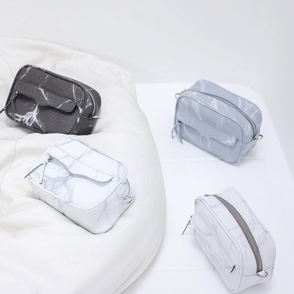 NATURAL MARBLE MINIBAG - WHITE-BROWN - Bags - Blue Edges Co. | Nordic Contemporary Marble Fashion | Minimal Uniqueness