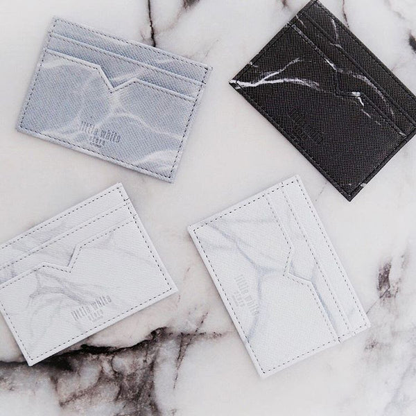 NATURAL MARBLE CARDHOLDER - WHITE-GREY - Blue Edges Co. | Shop the Minimalist Fashion Online
