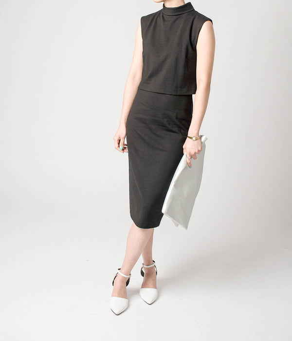 SLIM CUT LITTLE BLACK DRESS WITH ZIP DETAIL AT BACK - Blue Edges Co. | Shop the Minimalist Fashion Online