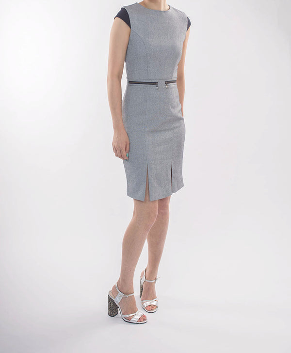 SLIM CUT GREY DRESS WITH DETAIL AT SHOULDER AND WAIST - Blue Edges Co. | Shop the Minimalist Fashion Online