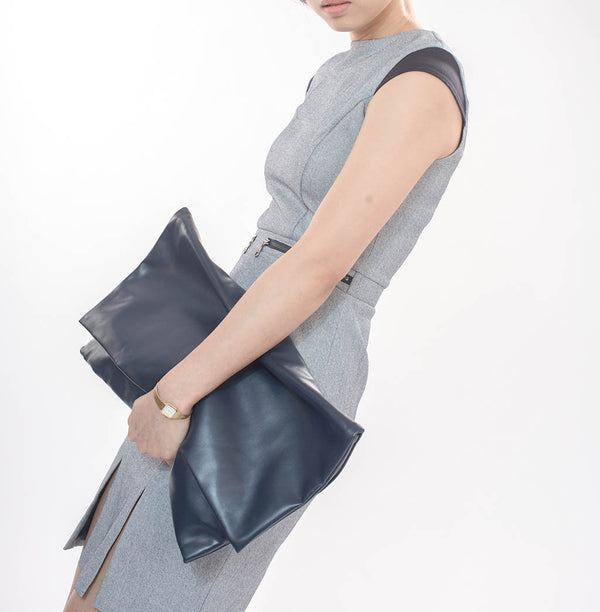 Slim Cut Grey Dress With Detail At Shoulder And Waist - Dress - Blue Edges Co. | Nordic Contemporary Marble Fashion 北歐風後現代主義概念店| Minimal Uniqueness | Reinvent your Collection