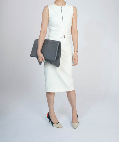 Slim Cut White Dress With Belt And Zip Detail - Dress - Blue Edges Co. | Nordic Contemporary Marble Fashion 北歐風後現代主義概念店| Minimal Uniqueness | Reinvent your Collection