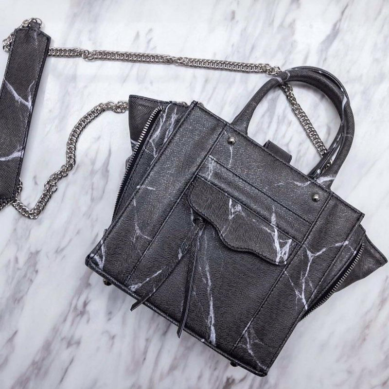 NATURAL MARBLE TOTE BAG - BLACK - Blue Edges Co. | Shop the Minimalist Fashion Online