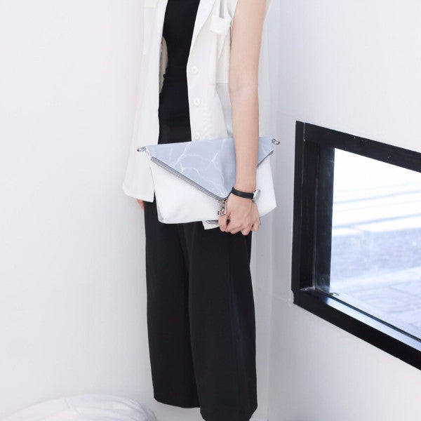 NATURAL MARBLE CLUTCH-STYLE BAG - GREY - Blue Edges Co. | Shop the Minimalist Fashion Online