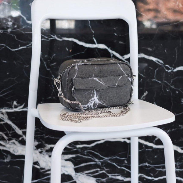 NATURAL MARBLE MINIBAG - BLACK - Bags - Blue Edges Co. | Nordic Contemporary Marble Fashion | Minimal Uniqueness