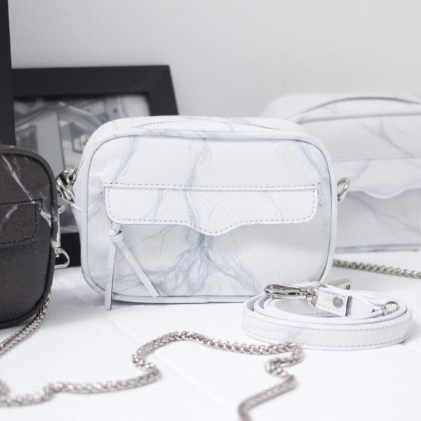 NATURAL MARBLE MINIBAG - WHITE-GREY - Bags - Blue Edges Co. | Nordic Contemporary Marble Fashion | Minimal Uniqueness