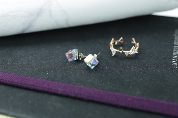 LOVE SPARKS SWAROVSKI STERLING SILVER EARRING - Blue Edges Co. | Shop the Minimalist Fashion Online