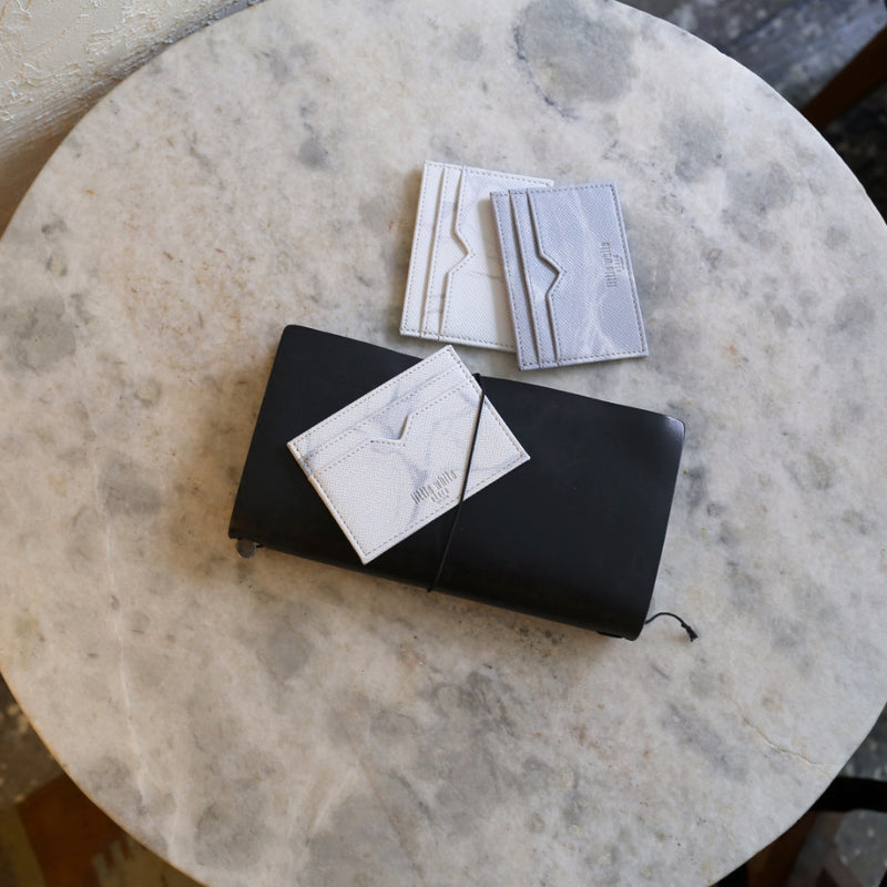 NATURAL MARBLE CARDHOLDER - WHITE-BROWN - Blue Edges Co. | Shop the Minimalist Fashion Online