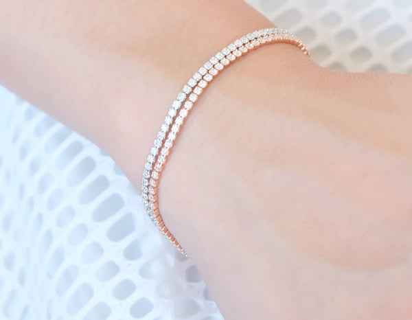 DOUBLE LINK ROSE GOLD STERLING SILVER BRACELET - Blue Edges Co. | Shop the Minimalist Fashion Online