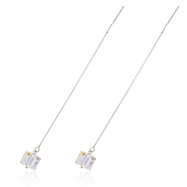 LONG LOVE SPARKS SWAROVSKI STERLING SILVER EARRING - Blue Edges Co. | Shop the Minimalist Fashion Online