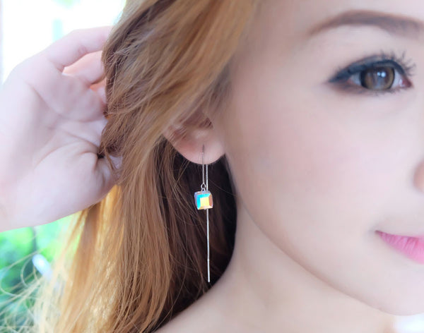 Long Love Sparks Swarovski Sterling Silver Earring - Accessories - Blue Edges Co. | Nordic Contemporary Marble Fashion 北歐風後現代主義概念店| Minimal Uniqueness | Reinvent your Collection