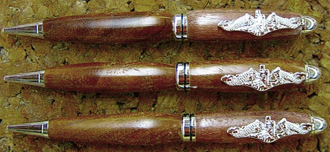 WEBSITE CUSTOMER IS VERY PLEASED WITH HIS PURCHASE OF THREE SUBMARINER PENS IN CHROME AND BLACK WALNUT!