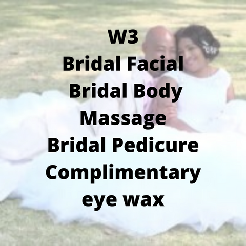 W3 - Bridal Facial, Bridal Body Massage, Bridal Pedicure, complimentary eye wax - Cher-Mere