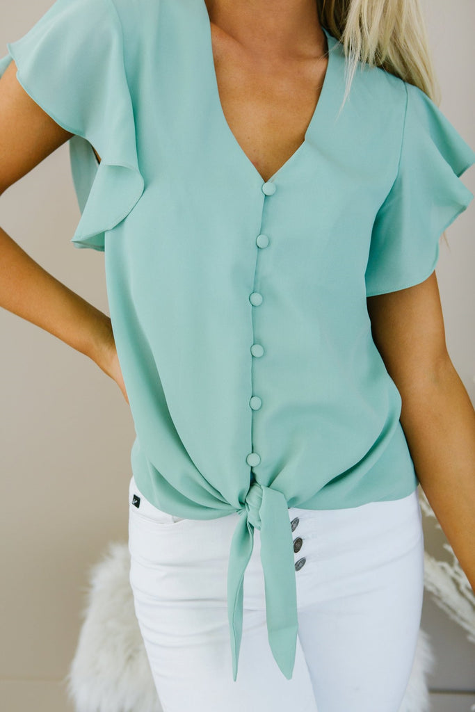 Button Tie Blouse