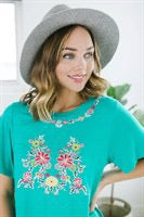 Lux Floral Embroidered Tee - Fancy Frills Boutique
