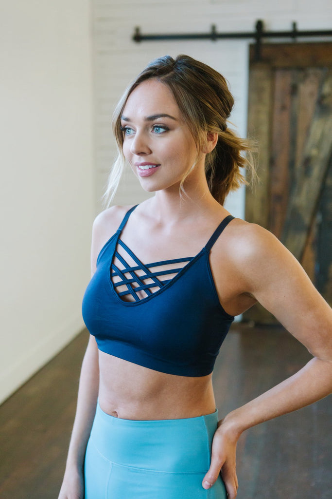 Cross Neck Padded Sports Bra - 6 Color Options