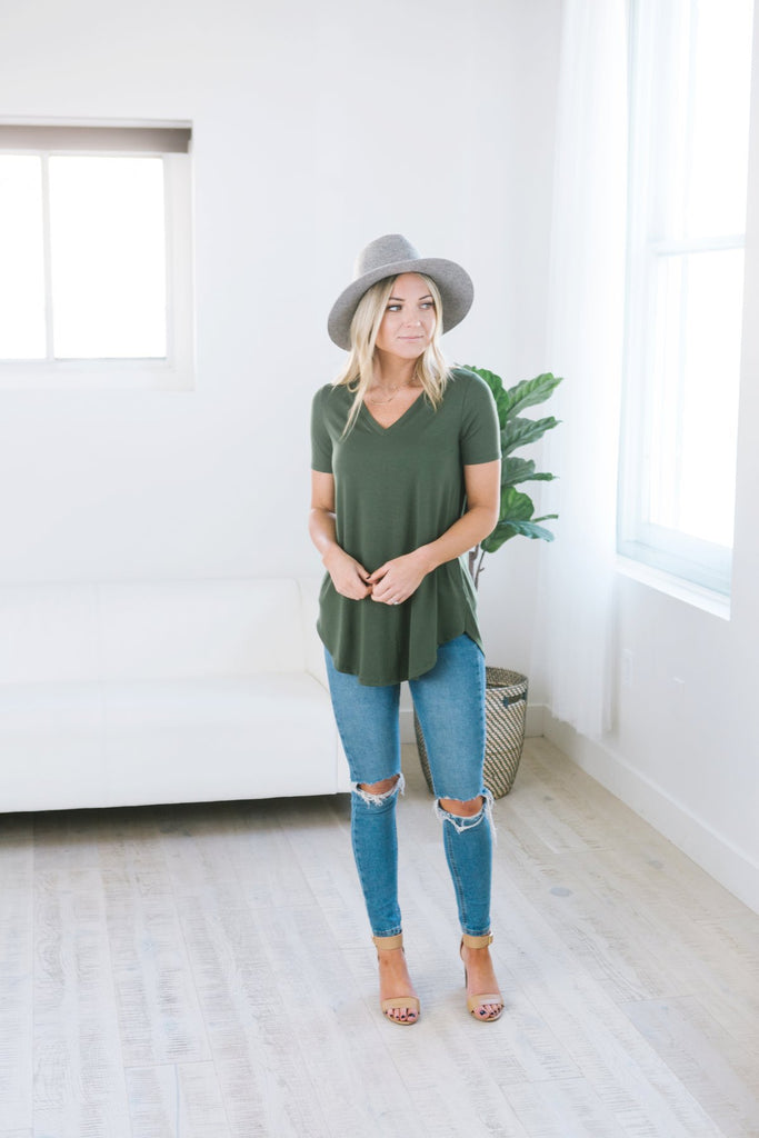 Essential V-Neck Tunic Tee - 10 Color Options