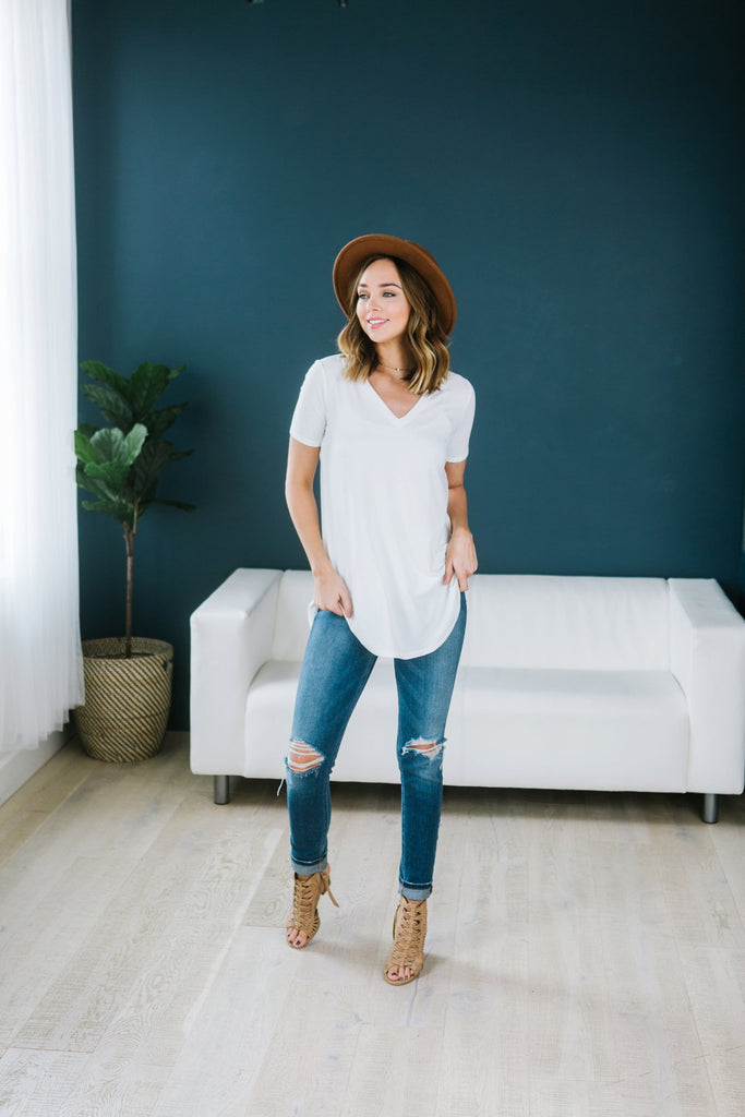 Essential V-Neck Tunic Tee - 10 Color Options - Fancy Frills Boutique