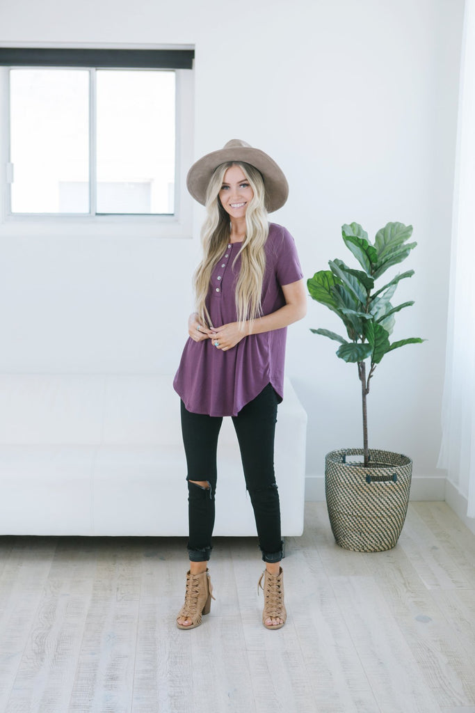 Relaxed Short Sleeve Button Tunic