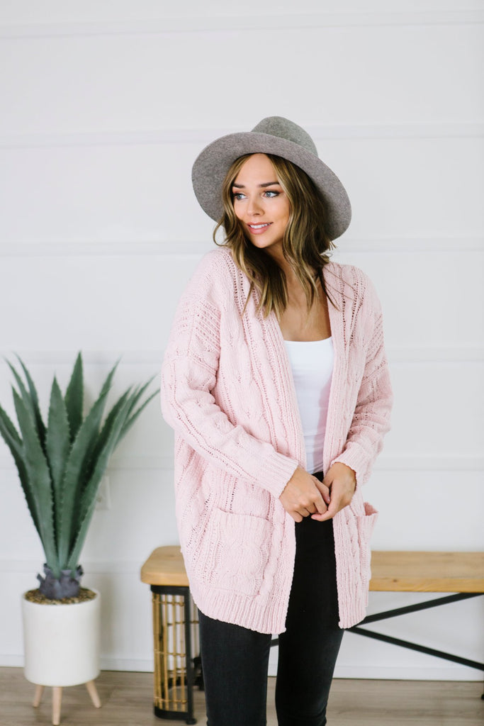 Cable Knit Pocket Cardigan - Fancy Frills Boutique