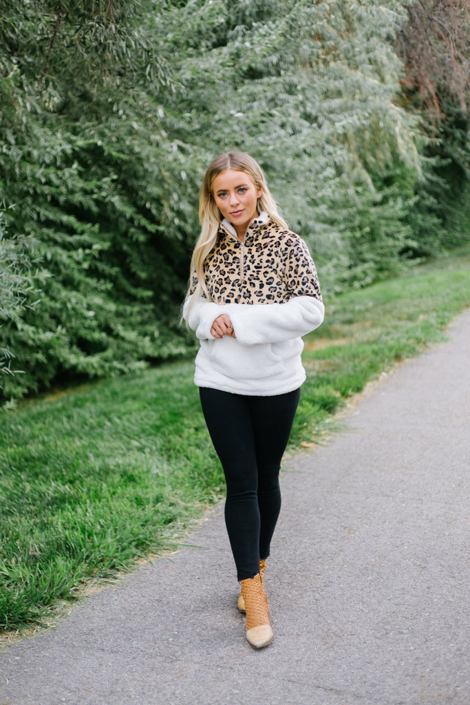 Animal Print Sherpa Pullover - Fancy Frills Boutique