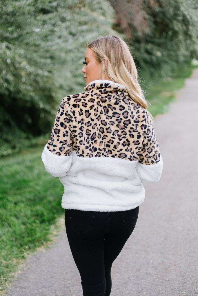 Animal Print Sherpa Pullover