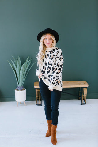 Animal Print Cowl Neck Sweater
