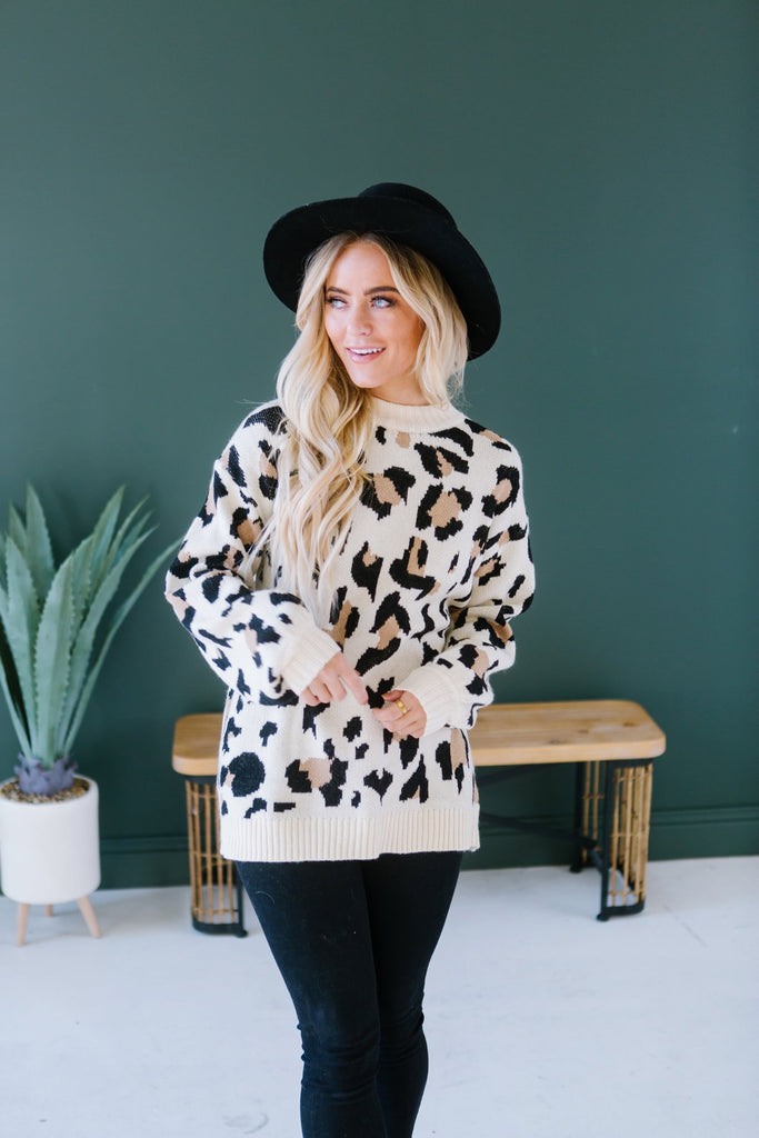 Winter Animal Print Sweater - Fancy Frills Boutique
