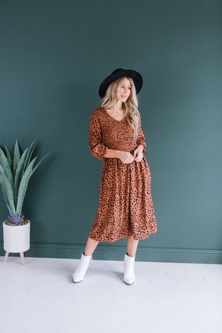 Animal Print Pocket Midi Dress