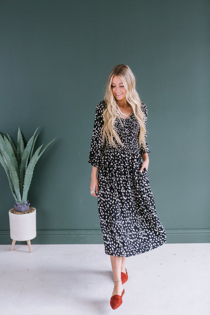 Smocked Animal Print Dress
