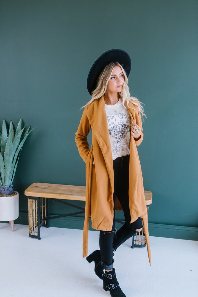 Chic Wool Tie Coat - Fancy Frills Boutique