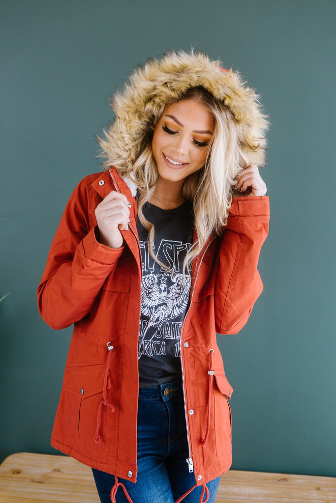 Fur Lined Hooded Coat - Fancy Frills Boutique
